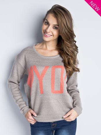 Jasnoszary sweter z sercem i nadrukiem YOU                                  zdj.                                  6