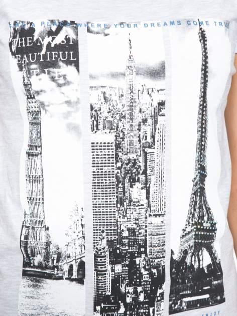 Jasnoszary t-shirt z fotografiami miast                                  zdj.                                  8