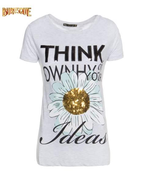 Jasnoszary t-shirt z nadrukiem stokrotki z dżetami                                  zdj.                                  1