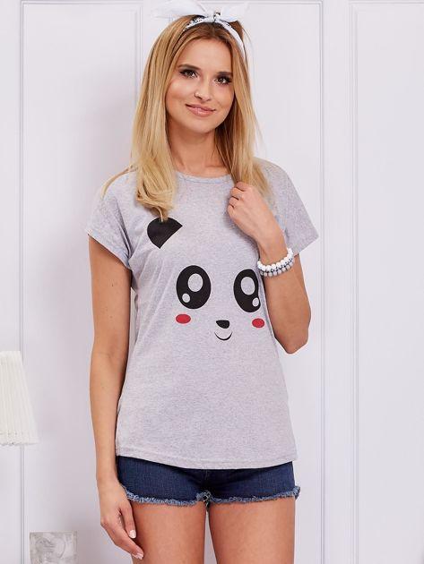 Jasnoszary t-shirt z pandą                              zdj.                              1