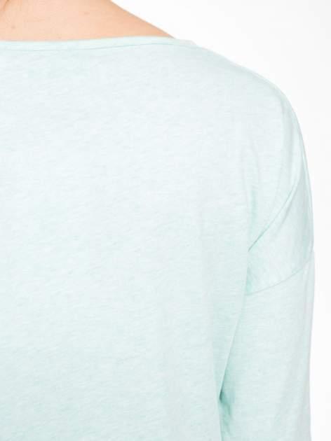 Jasnozielona luźna bluzka z rękawem 3/4                                  zdj.                                  8