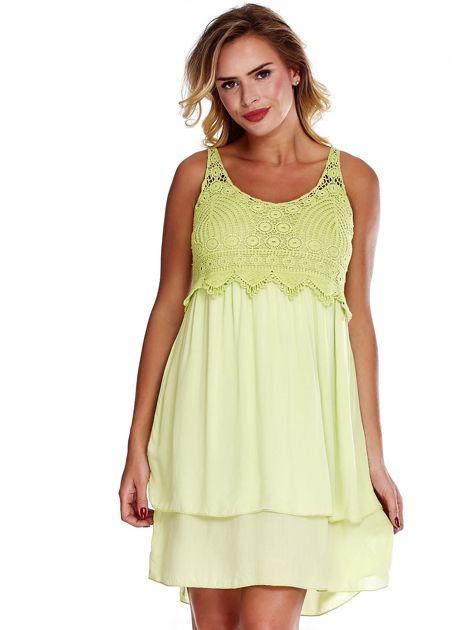 Jasnozielona sukienka na cienkich ramiączkach                              zdj.                              1
