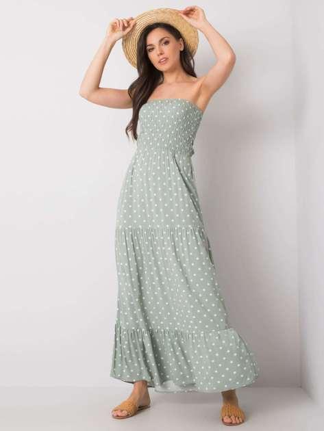 Jasnozielona sukienka w grochy Aracelis FRESH MADE