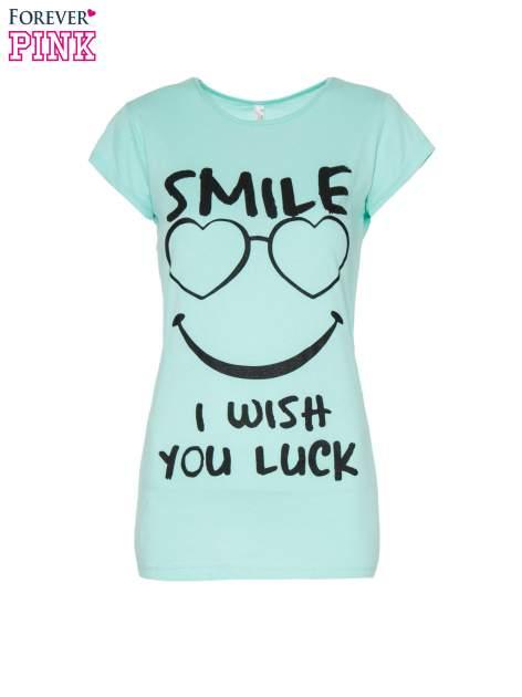 Jasnozielony t-shirt z nadrukiem SMILE                                  zdj.                                  2