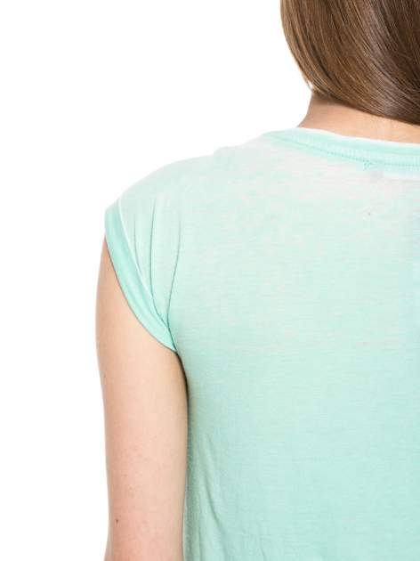 Jasnozielony t-shirt z nadrukiem tygrysa                                  zdj.                                  6
