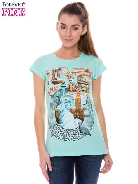 Jasnozielony t-shirt z nadrukiem w amerykańskim stylu                                  zdj.                                  1