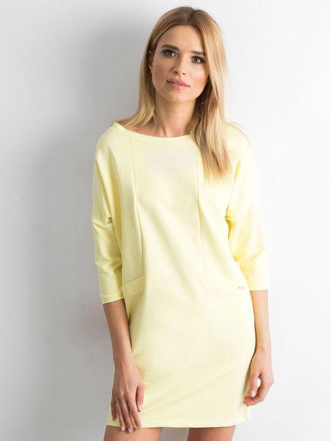 Jasnożółta bawełniana sukienka                              zdj.                              1