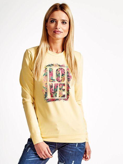 Jasnożółta bluza z napisem LOVE                              zdj.                              1