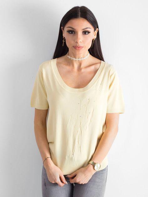 Jasnożółta bluzka z głębokim dekoltem                              zdj.                              1