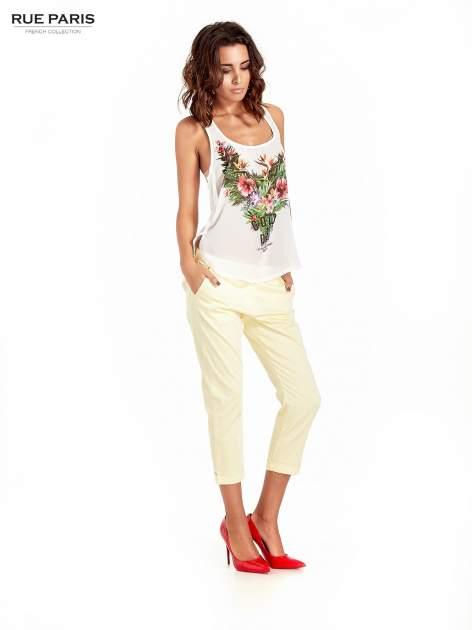 Jasnożółte eleganckie spodnie za kolano                                  zdj.                                  8