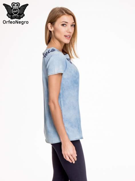 Jeansowa bluzka koszulowa z haftem                                  zdj.                                  3