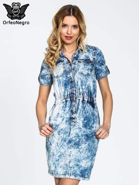 Jeansowa marmurkowa sukienka typu szmizjerka                                  zdj.                                  1