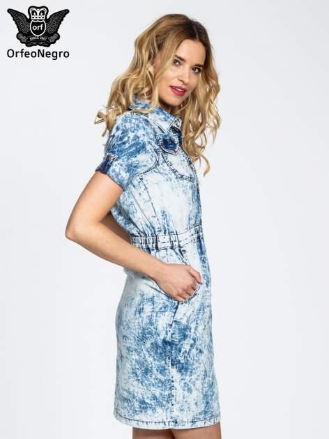 Jeansowa marmurkowa sukienka typu szmizjerka                                  zdj.                                  3