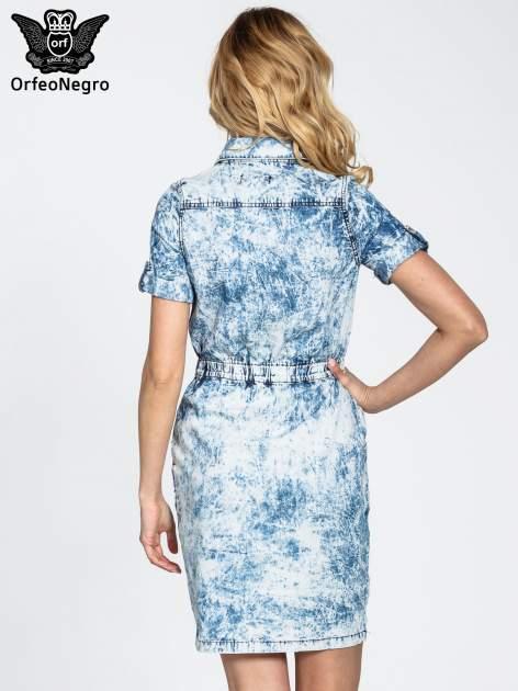 Jeansowa marmurkowa sukienka typu szmizjerka                                  zdj.                                  4