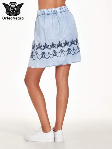 Jeansowa spódnica z haftem                                  zdj.                                  4