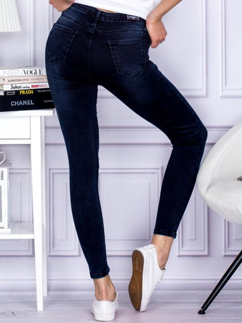 Jeansowe granatowe spodnie z wysokim stanem                                  zdj.                                  2