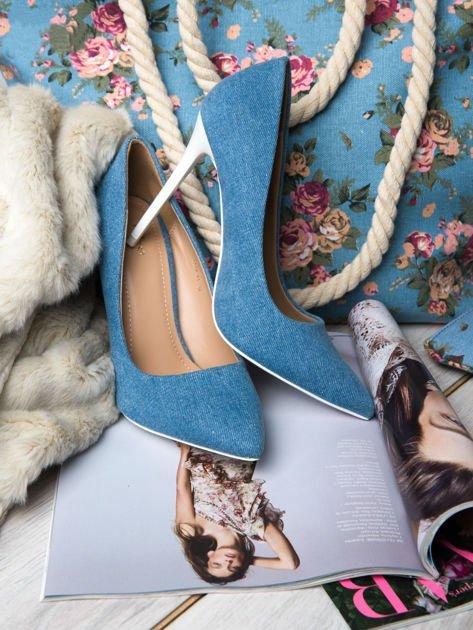 Jeansowe szpilki na białym obcasie Denim Glam                                  zdj.                                  1