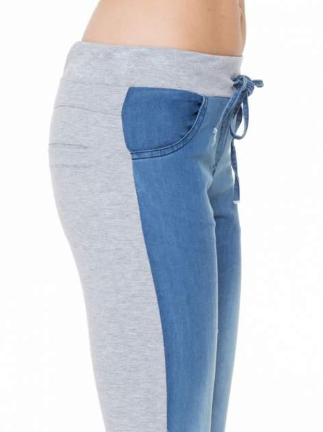 Jeansowo-dresowe spodnie typu tregginsy wiązane w pasie                                  zdj.                                  6