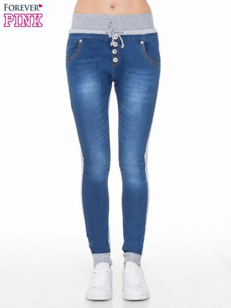 Jeansowo-dresowe spodnie typu tregginsy z wysokim pasem
