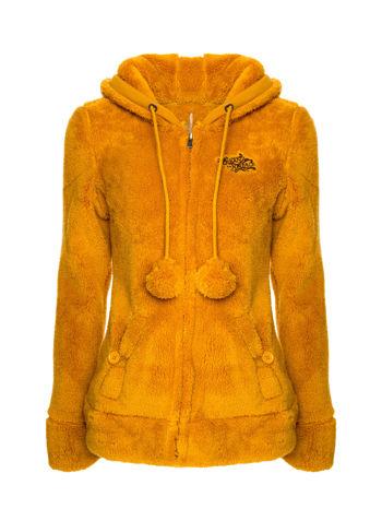 Karmelowa bluza polarowa z kapturem z uszkami i pomponami                                  zdj.                                  1