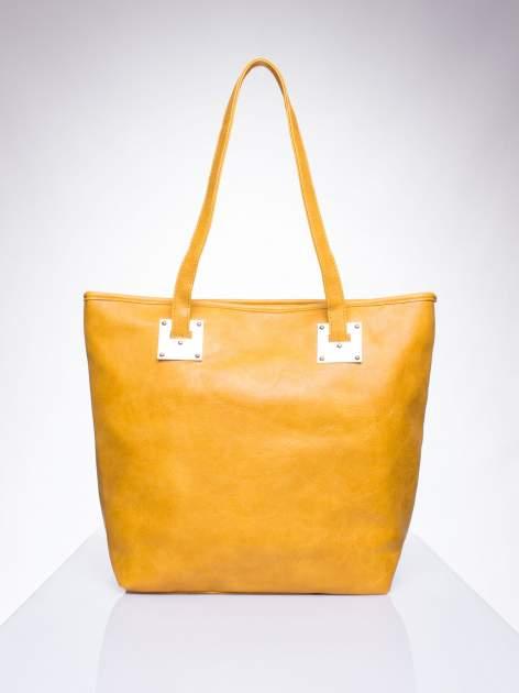Karmelowa prosta torba shopper bag ze złotymi okuciami