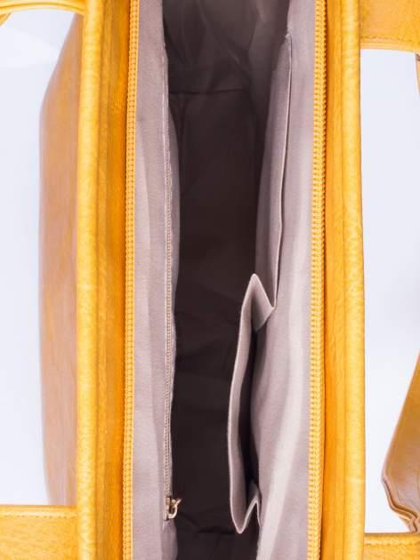 Karmelowa prosta torba shopper bag ze złotymi okuciami                                  zdj.                                  4