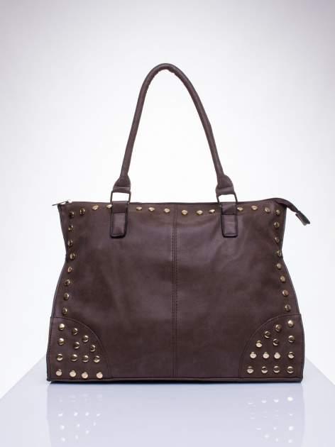 Kawowa torba shopper bag ze złotymi ćwiekami                                  zdj.                                  1