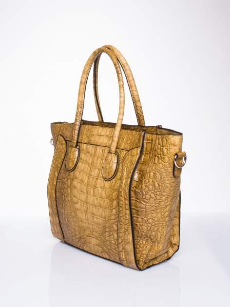 Kawowa trapezowa torba miejska z efektem skóry krokodyla                                  zdj.                                  3