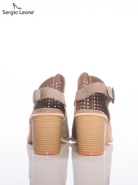 Kawowe ażurowe sandały Sergio Leone na szerokim klocku                              zdj.                              3