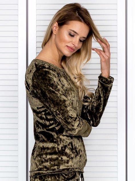 Khaki aksamitna bluza damska                               zdj.                              3