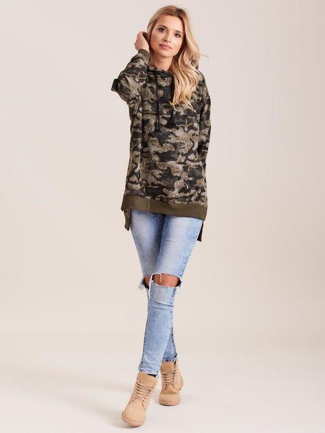 Khaki asymetryczna bluza moro z kapturem                              zdj.                              4