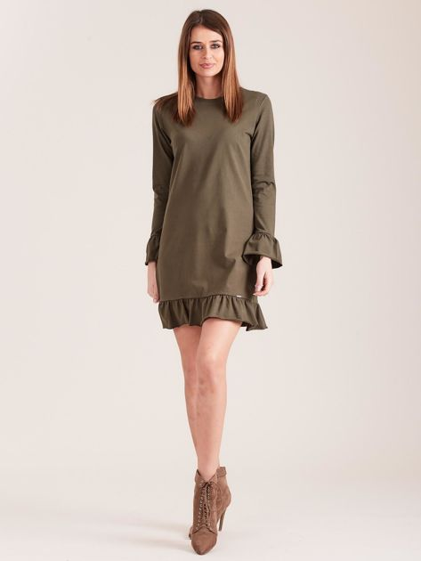 Khaki bawełniana sukienka z falbanką                              zdj.                              4