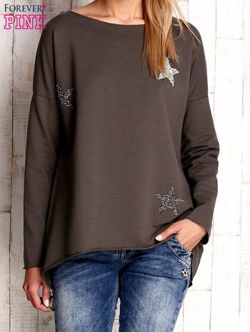 Khaki bluza z błyszczącymi gwiazdkami                              zdj.                              1