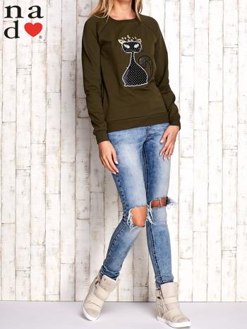 Khaki bluza z cekinowym kotem                                  zdj.                                  2
