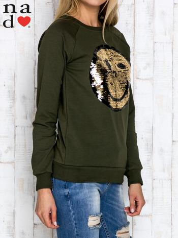 Khaki bluza z dwustronną naszywką z cekinów                                  zdj.                                  3