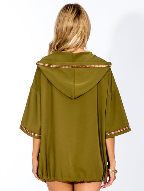 Khaki bluza z kapturem w stylu boho                                  zdj.                                  1