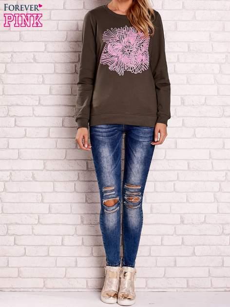Khaki bluza z kolorowym nadrukiem                                  zdj.                                  4