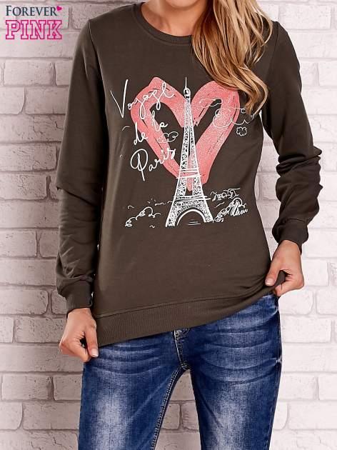 Khaki bluza z motywem paryskim                                  zdj.                                  1