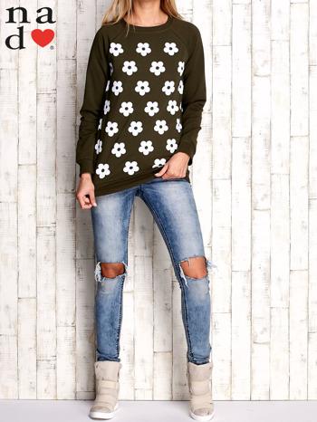 Khaki bluza z nadrukiem kwiatów                                  zdj.                                  2