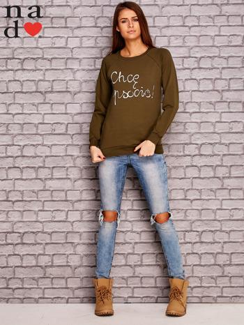 Khaki bluza z napisem CHCĘ PSOCIĆ                                  zdj.                                  2