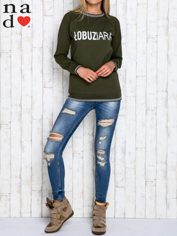 Khaki bluza z napisem ŁOBUZIARA                                  zdj.                                  2