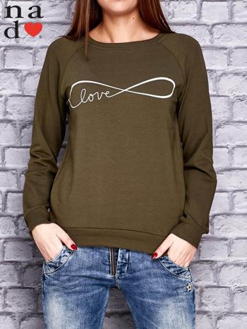 Khaki bluza z napisem LOVE                                  zdj.                                  1
