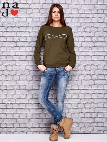 Khaki bluza z napisem LOVE                                  zdj.                                  2