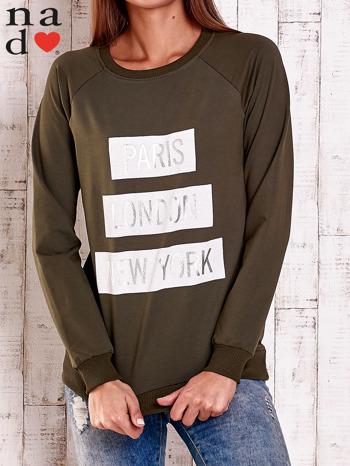 Khaki bluza z napisem PARIS LONDON NEW YORK                                  zdj.                                  1