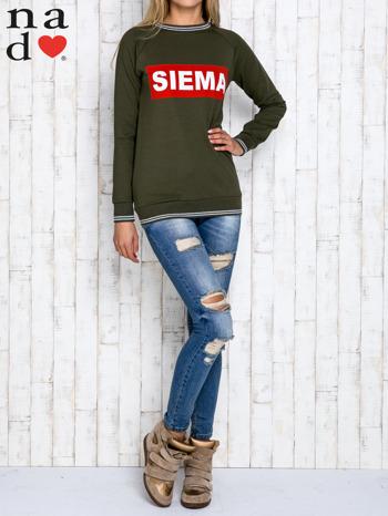 Khaki bluza z napisem SIEMA                                  zdj.                                  2