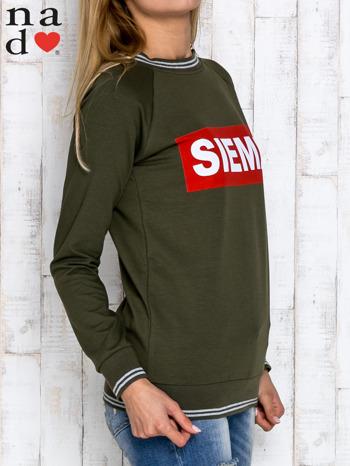 Khaki bluza z napisem SIEMA                                  zdj.                                  3