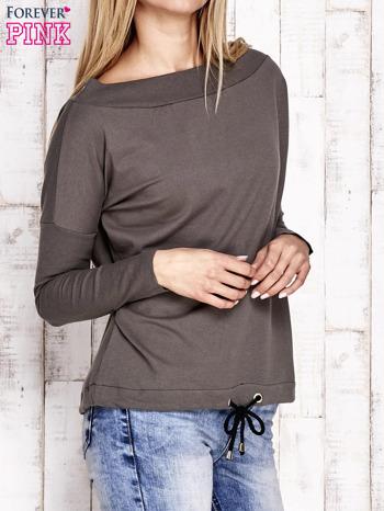 Khaki bluza z szerokim ściągaczem i troczkami                                  zdj.                                  3