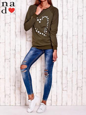 Khaki bluza z wzorem serca                                  zdj.                                  3