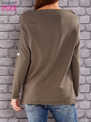 Khaki bluzka z koralikową aplikacją                                  zdj.                                  4