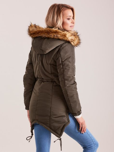 Khaki damska kurtka na zimę                              zdj.                              2